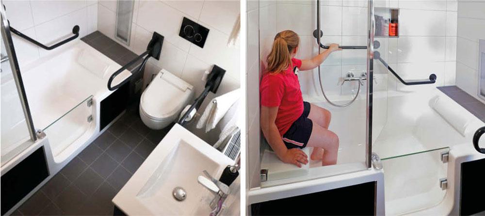 Bad met lage instap in de nieuwe badkamer