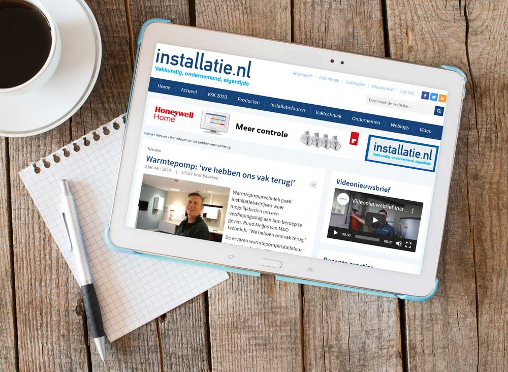 Artikel op Installatie.nl waarin Ruud Meijns vertelt over warmtepomptechniek.